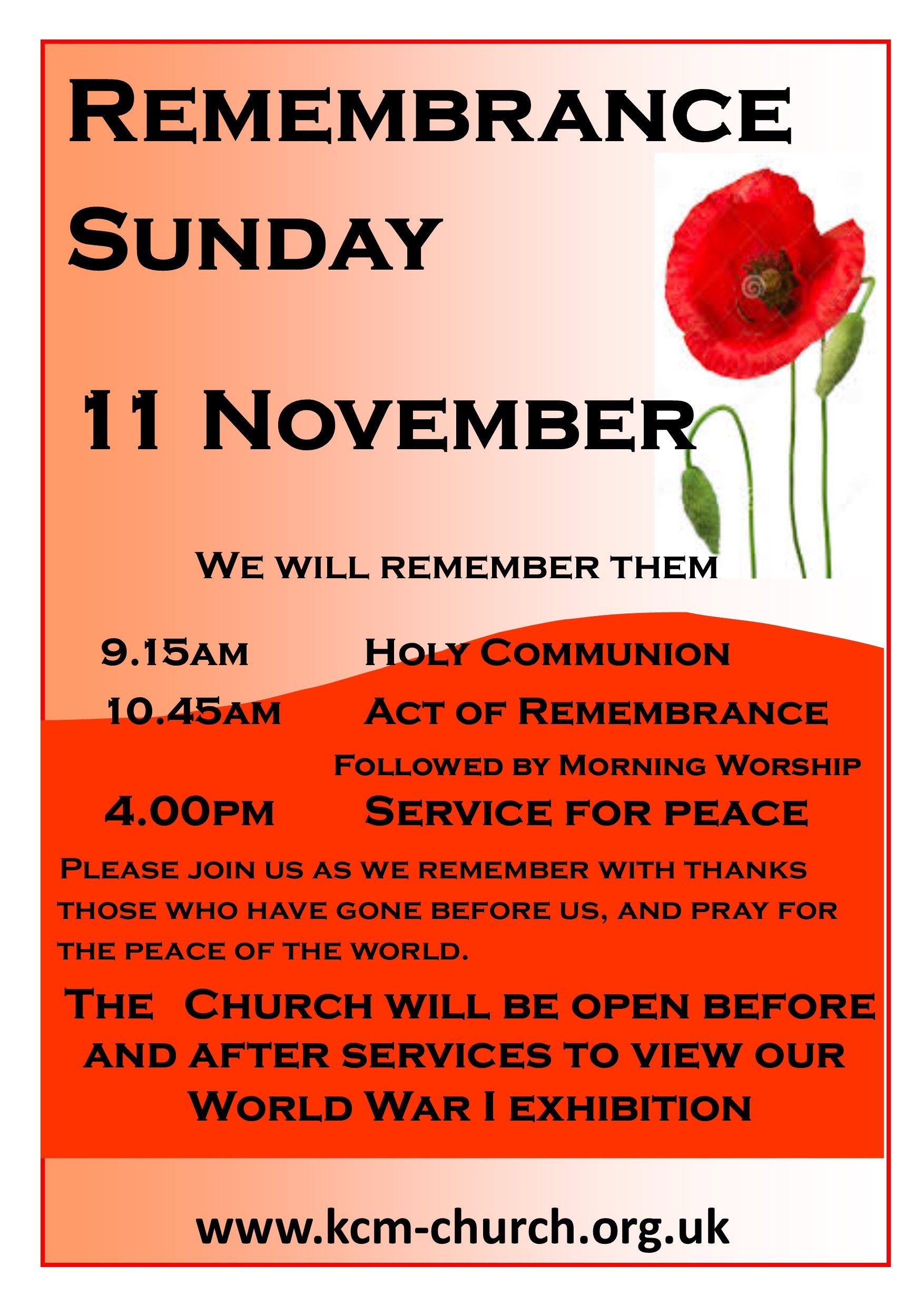 Remembrance Sunday Exhibition Poster 2018